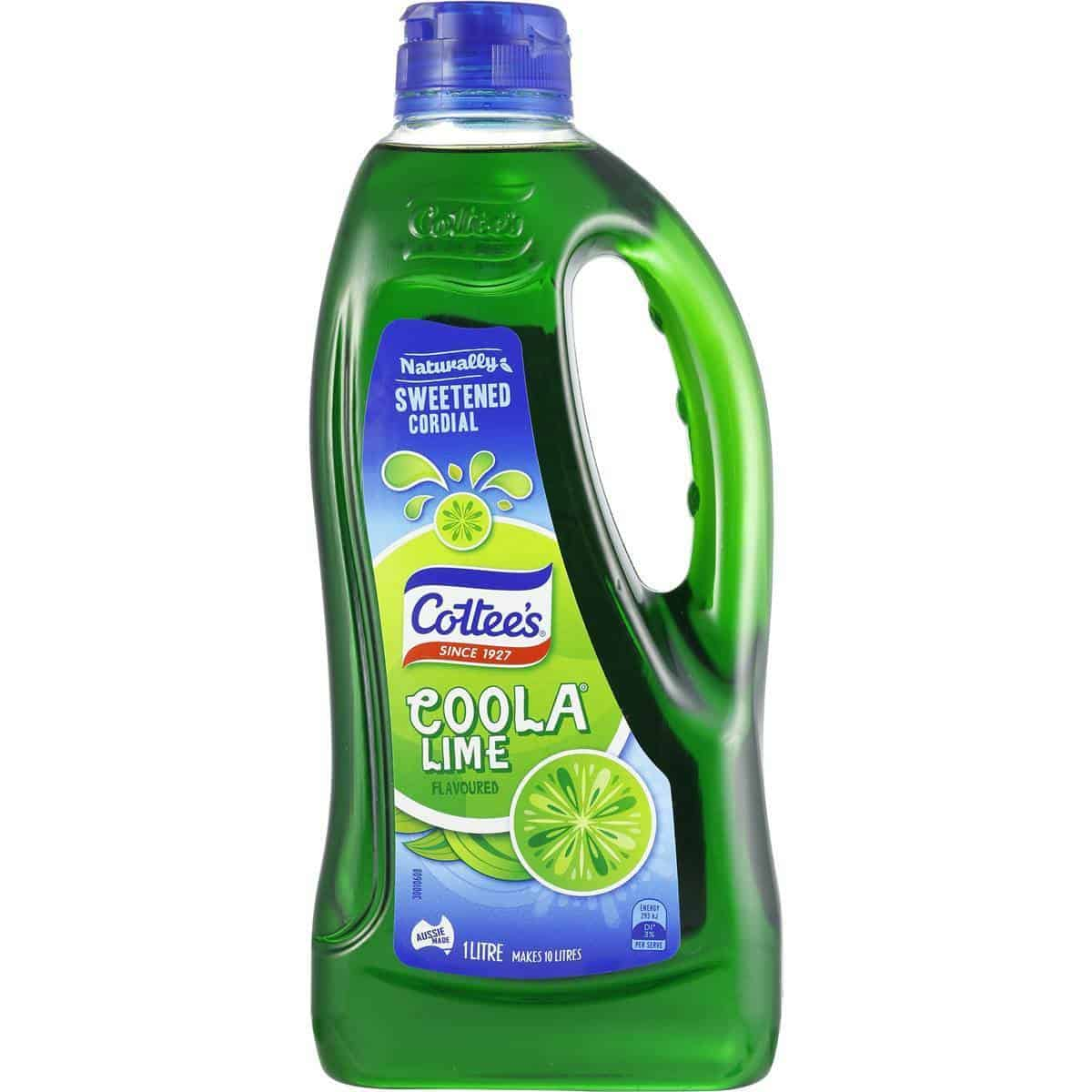 Cottee's Lime Coola Cordial 1L - The Australian Food Shop